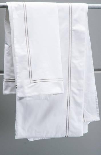 Bianca Lorenne - Livorno White-Taupe Sheets/Pillowcases