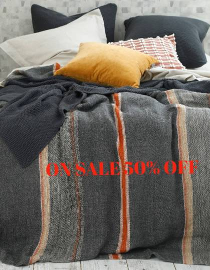 MM Linen - Faro Linen Throw  - Charcoal - ON SALE