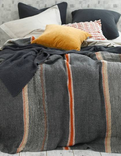 MM Linen - Faro Linen Throw  - Charcoal