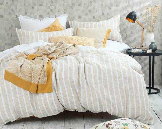 MM Linen - Finch Linen/Cotton Duvet Set - Straw