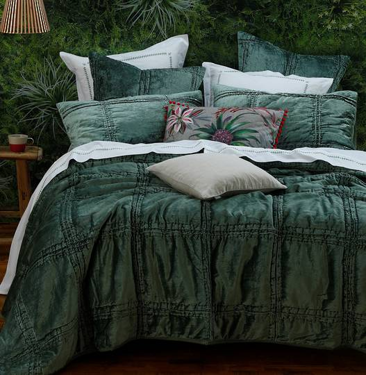 MM Linen - Velutto Comforter & Coverlet - Seagrass