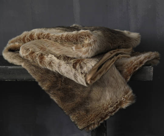 MM Linen - Snug Faux Fur Throw - Caramel