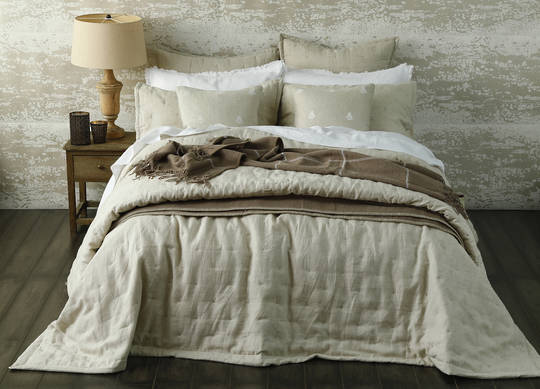 MM Linen - Laundered Linen Bedspread Set - Natural