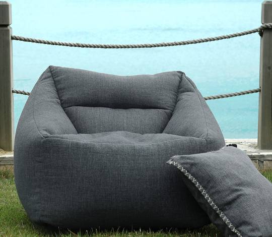 MM Linen - Kalo Charcoal Outdoor Bean Chair - Unfilled