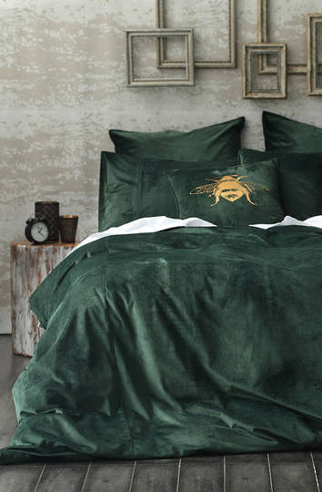 MM Linen - Velvet Duvet Cover Set- Forest