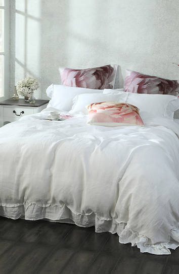 MM Linen - Laundered Linen Duvet Cover Set -  Frill White