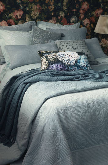 MM Linen - Florentina Bedspread Set /Pillowcases/Eurocases - Mist Blue