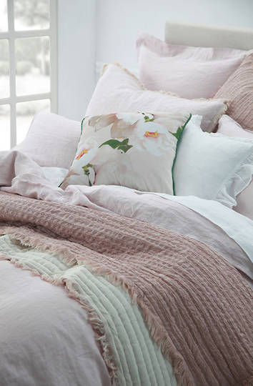 MM Linen - Tali Cotton Throw  - Blush