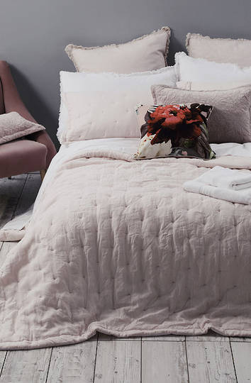 MM Linen - Laundered Linen Bedspread Set - Blush