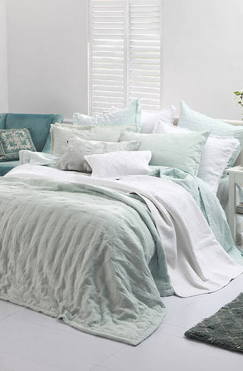 MM Linen - Laundered Linen  Bedspread Set - Duckegg
