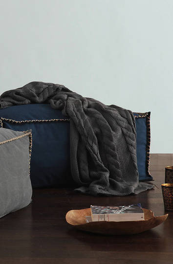 MM Linen - Guernsey Knit Throw -  Charcoal