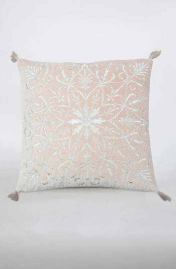 MM Linen - Constantine Embroidered Velvet Cushion - Rosewood