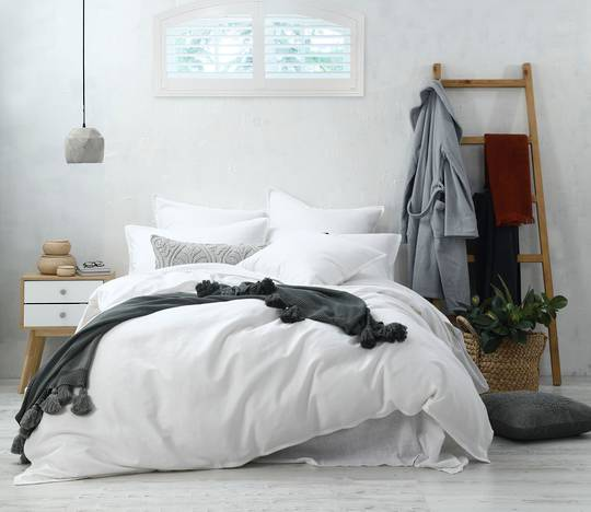MM Linen - Stitch - Duvet Set/Eurocase Set - White