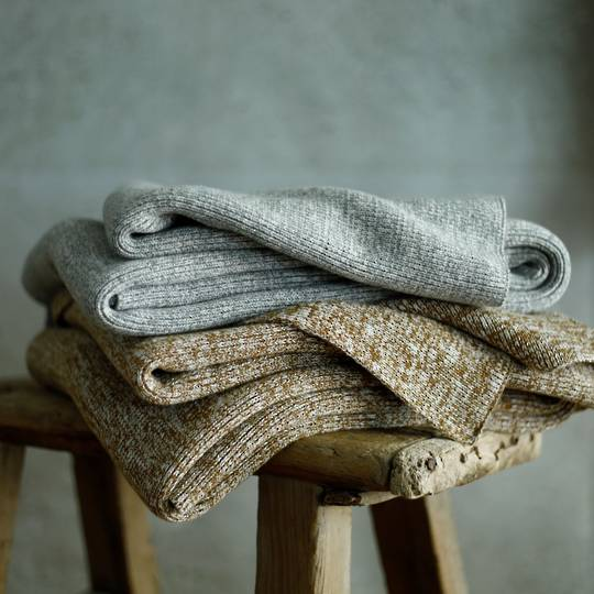 MM Linen - Chambray Throw - Chestnut and Grey