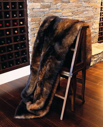 New Zealand Brushtail Possum Premium Fur Throw - Natural Brown
