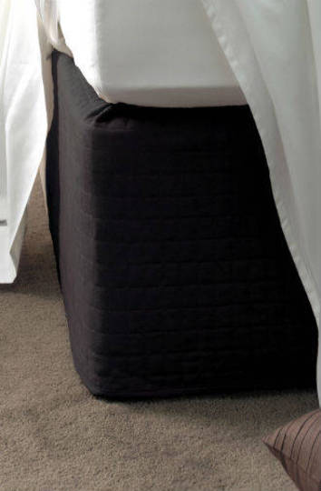 Linen House - Suede Quilted Bedwrap  Black - 45cm Drop