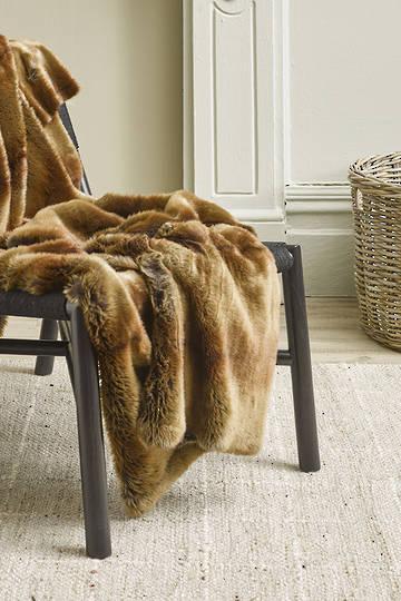 Heirloom Exotic Faux Fur Cushion / Throw - Striped Beaver