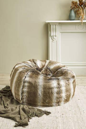 Heirloom Exotic Faux Fur - Plush Pod Bean Bags -  Striped Elk