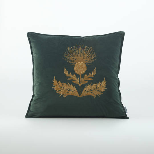MM Linen - Thistle Cushion - Forest