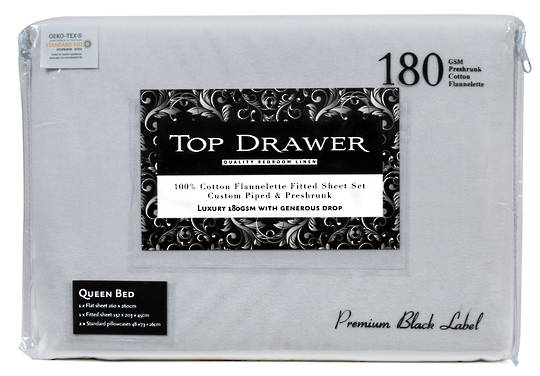 Top Drawer Flannelette Sheet Set - Silver