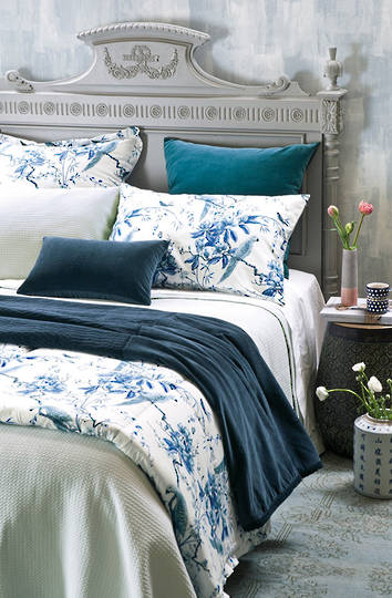 Bianca Lorenne - Valentina Duck Egg Bedspread / Pillowcase/Eurocase