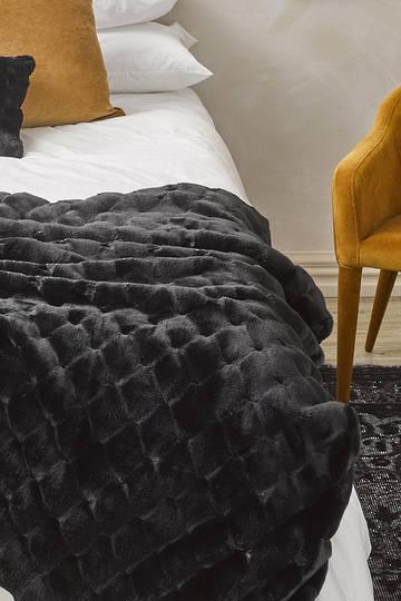 Heirloom Exotic Faux Fur -  Cushion / Throw  -  Valentina - Black