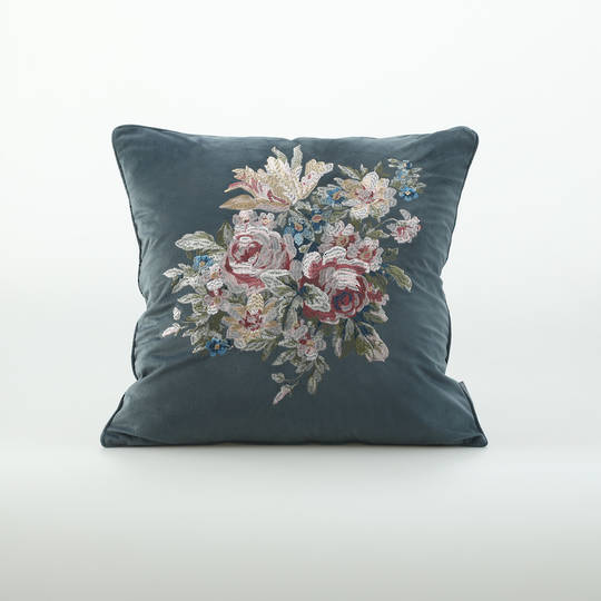 MM Linen - Vintage Cushion - Bluestone