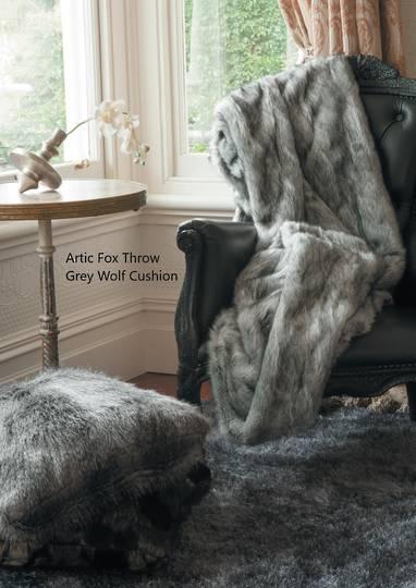 Heirloom Exotic Faux Fur Cushion / Throw -  Arctic Fox