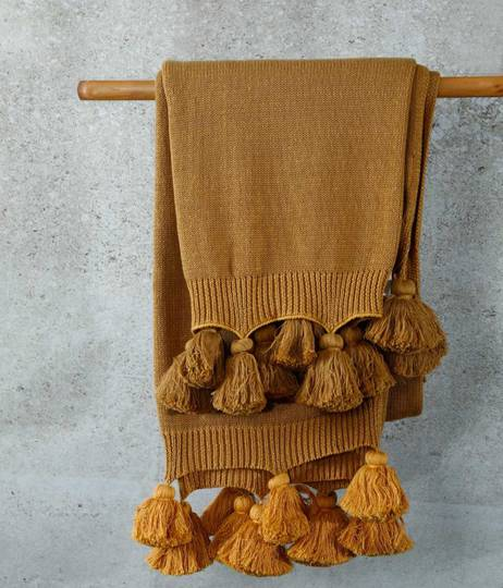 MM Linen - Birch Throw - Ochre