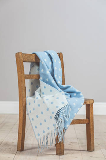 Importico - Foxford Lambswool Throw - Blue Spot Baby Throw