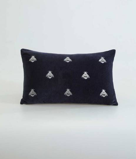 MM Linen Buzz Cushion - Navy