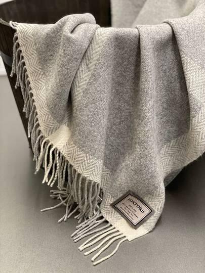 Importico - Foxford - Cashmere Windowpane - Pearl/Grey/White - Throw