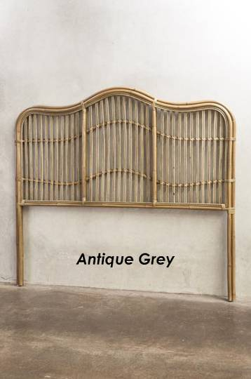 Bianca Lorenne - Curvare Rattan Headboard - Antique Grey