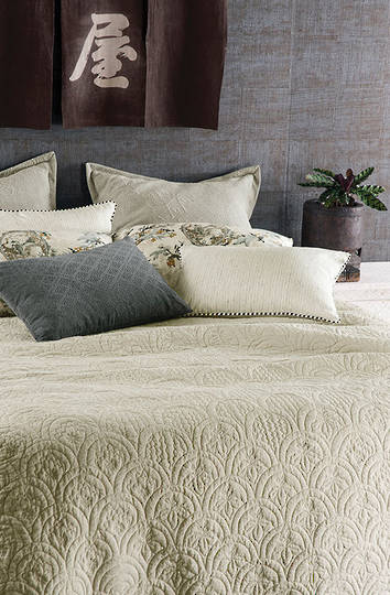 Bianca Lorenne - Etsu Oatmeal Bedspread/ Pillowcases