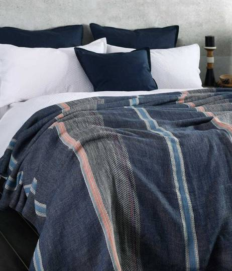 MM Linen - Faro Linen Throw  - Navy