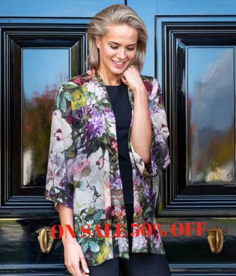MM Linen - Short Kimono - Fiori - ON SALE