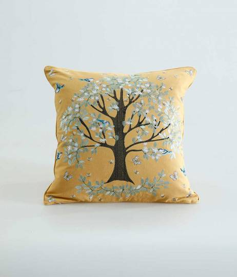 MM Linen - Flourish Cushion - Gold