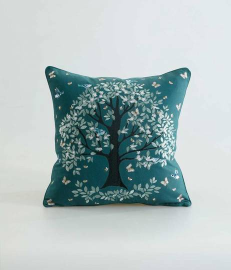 MM Linen - Flourish Cushion - Green