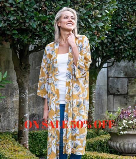 MM Linen - Long Kimono - Lark - ON SALE