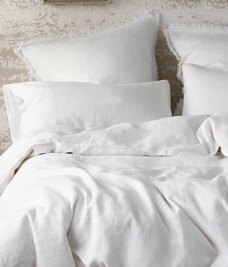 MM Linen - Laundered Linen Duvet Cover Set - White
