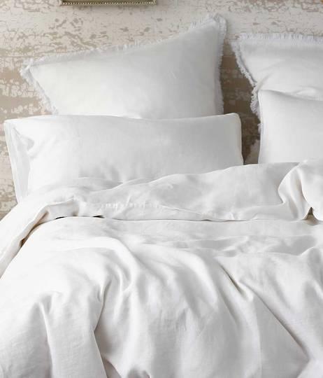 MM Linen - Laundered Linen - Super King -  Duvet Cover Set - White - ON CLEARANCE