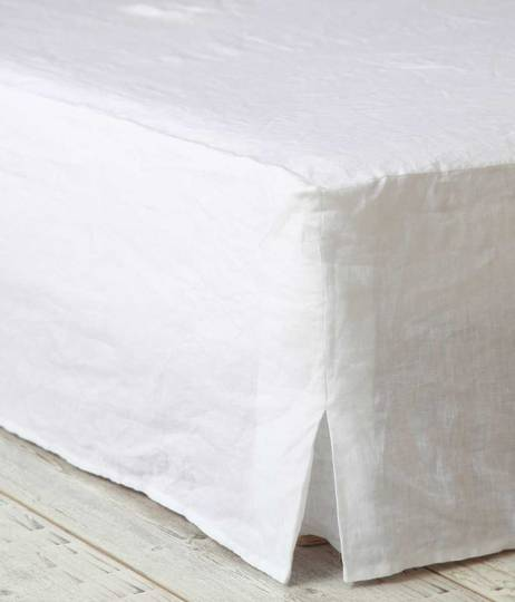 MM Linen - Laundered Linen  - Bed Skirt/Valance - White