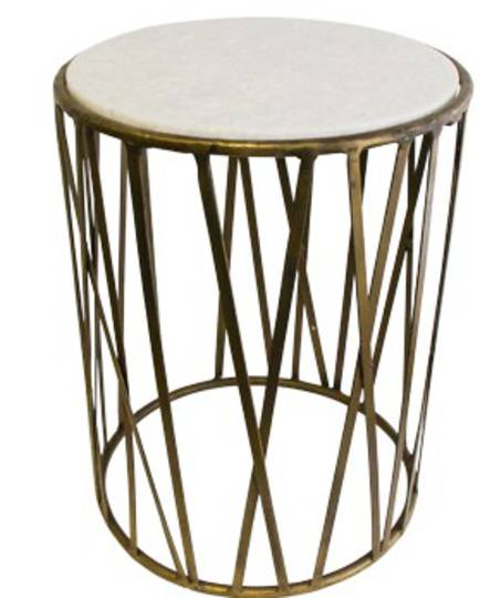 French Country - Criss Cross Marble Side Table