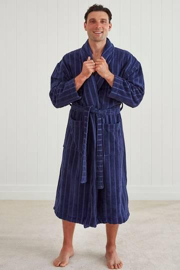 Baksana -  Mens Relaxation Robe - Navy