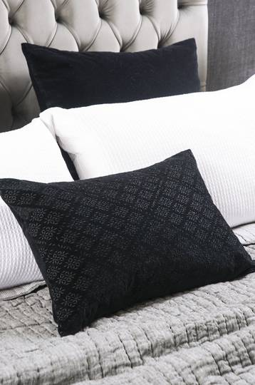 Bianca Lorenne - Sashiko Cushion -  Black