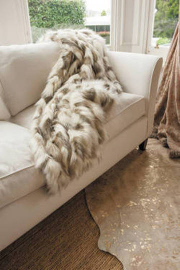 Heirloom Exotic Faux Fur - Cushion / Throw- Snowshoe Hare