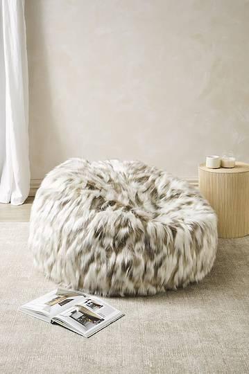 Heirloom Exotic Faux Fur - Plush Pod Bean Bags -  Snowshoe Hare