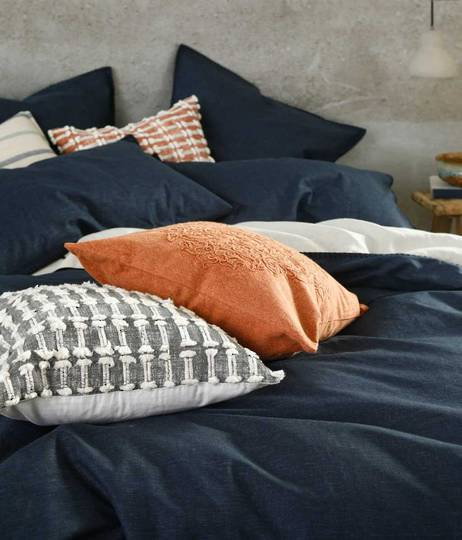 MM Linen - Stitch Duvet Set / Eurocase Set - Navy