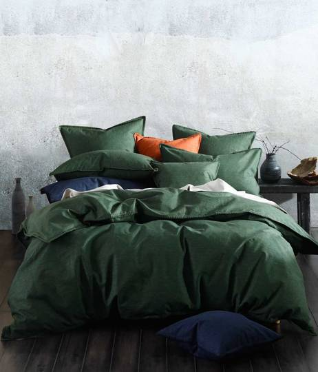 MM Linen - Stitch Duvet Set / Eurocase Set - Cypress