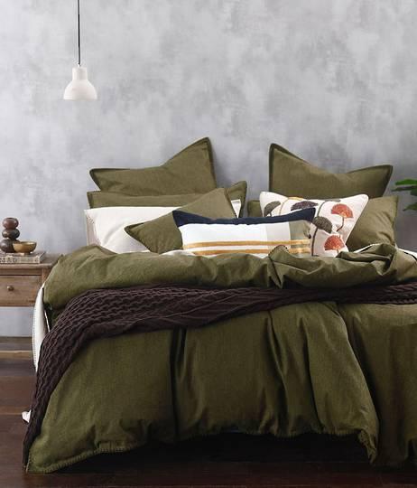 MM Linen - Stitch - Duvet Set/Eurocase Set - Olive